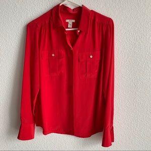 J.Crew Red Silk Blythe Utility Blouse - Size 2